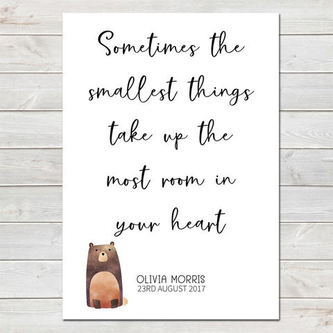 Smallest Things Quote with Animal, Baby Bedroom Print/Personalised Nursery Decor A4