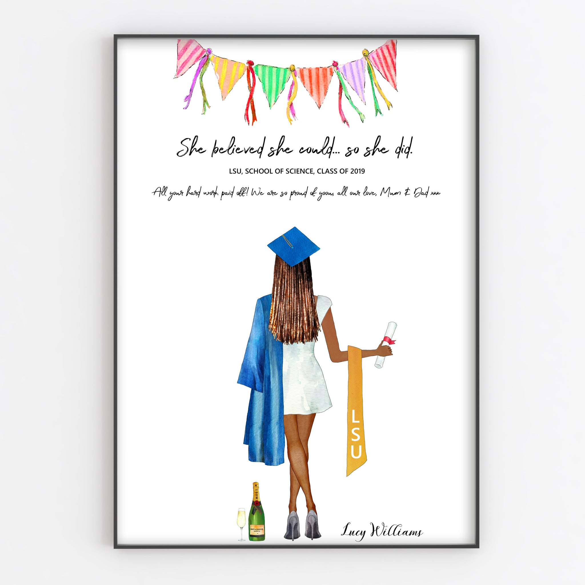 Personalised Graduation Print, Fun Portrait Style in A3 or A4