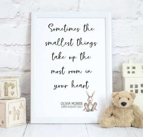 Smallest Things Quote with Animal, Baby Bedroom Print/Personalised Nursery Decor