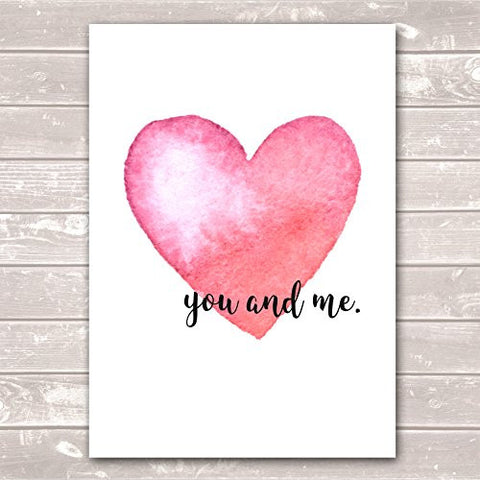 You & Me Valentines Day Anniversary Housewarming Pastel Pink Heart Poster / Gift / Print
