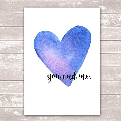You & Me Valentines Day Anniversary Housewarming Pastel Blue Heart Poster / Gift / Print