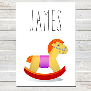 Rocking Horse Personalised Name Poster White Background, Nursery / Kids Bedroom Print- A4