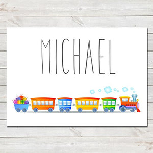 Choo Choo Train Personalised Name Poster White Background, Nursery / Kids Bedroom Print
