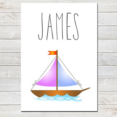 Sail Boat Personalised Name Poster White Background, Nursery / Kids Bedroom Print- A4