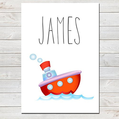 Red Boat Personalised Name Poster White Background, Nursery / Kids Bedroom Print- A4