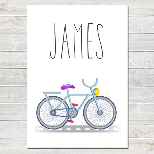 Bicycle Personalised Name Poster, Nursery / Kids Bedroom Print