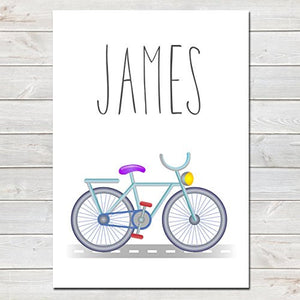 Bicycle Personalised Name Poster, Nursery / Kids Bedroom Print A4 or A3