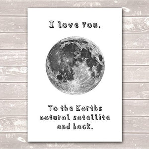 I Love You to the Moon and Back Valentines Day Scientific Poster / Gift / Print- A4