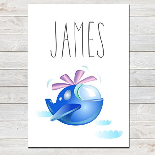 Blue Helicopter Personalised Name Poster White Background, Nursery / Kids Bedroom Print- A4