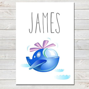 Blue Helicopter Personalised Name Poster White Background, Nursery / Kids Bedroom Print