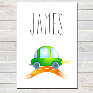 Green Car Personalised Name Poster White Background, Nursery / Kids Bedroom Print- A4