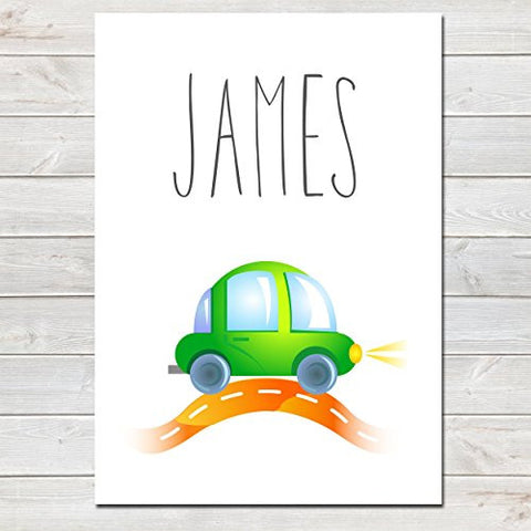 Green Car Personalised Name Poster White Background, Nursery / Kids Bedroom Print
