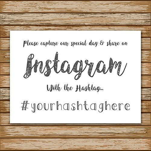 Wedding Instagram Hashtag Personalised Sign White Poster Guest Photo Request Print- A4