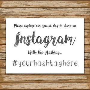 Wedding Instagram Hashtag Personalised Sign White Poster Guest Photo Request Print