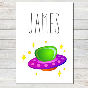 Spaceship Personalised Name Poster White Background, Nursery / Kids Bedroom Print- A4