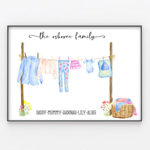 Washing Line Family Print, Personalised Wall Art Gift for New Home