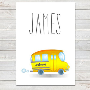 Yellow School Bus Personalised Name Poster White Background, Nursery / Kids Bedroom Print- A4