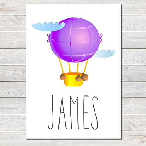 Hot Air Balloon Purple Personalised Name Poster White Background, Nursery / Kids Bedroom Print