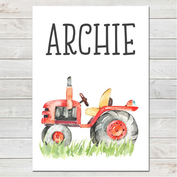Tractor with Name Bedroom Print/Personalised Farm Nursery Decor