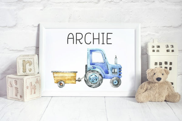 Tractor with Trailer Bedroom Print/Personalised Farm Nursery Decor