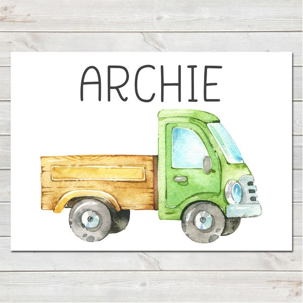 Farm Truck with Name Bedroom Print/Personalised Nursery Decor