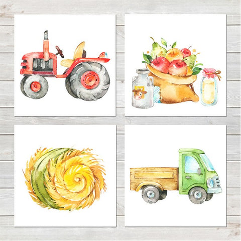 Tractor/Truck/Farm Collection Nursery Decor Four Prints 8x8 inches