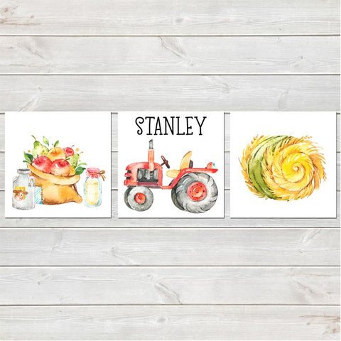 Tractor/Farm Collection Nursery Decor Three Prints Personalised 8x8 inches