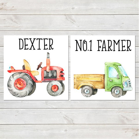 Tractor/Truck Nursery Decor Two Personalised Prints 8x8 inches