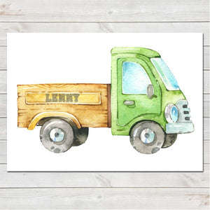 Farm Truck with Name on Trailer Bedroom Print/Personalised Nursery Decor