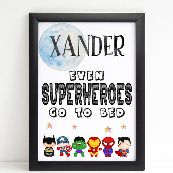 Even Superheroes Go To Bed Bedroom Print / Personalised Nursery Decor