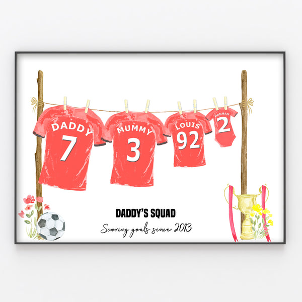 Football Shirt Family Print Personalised Wall Art Gift