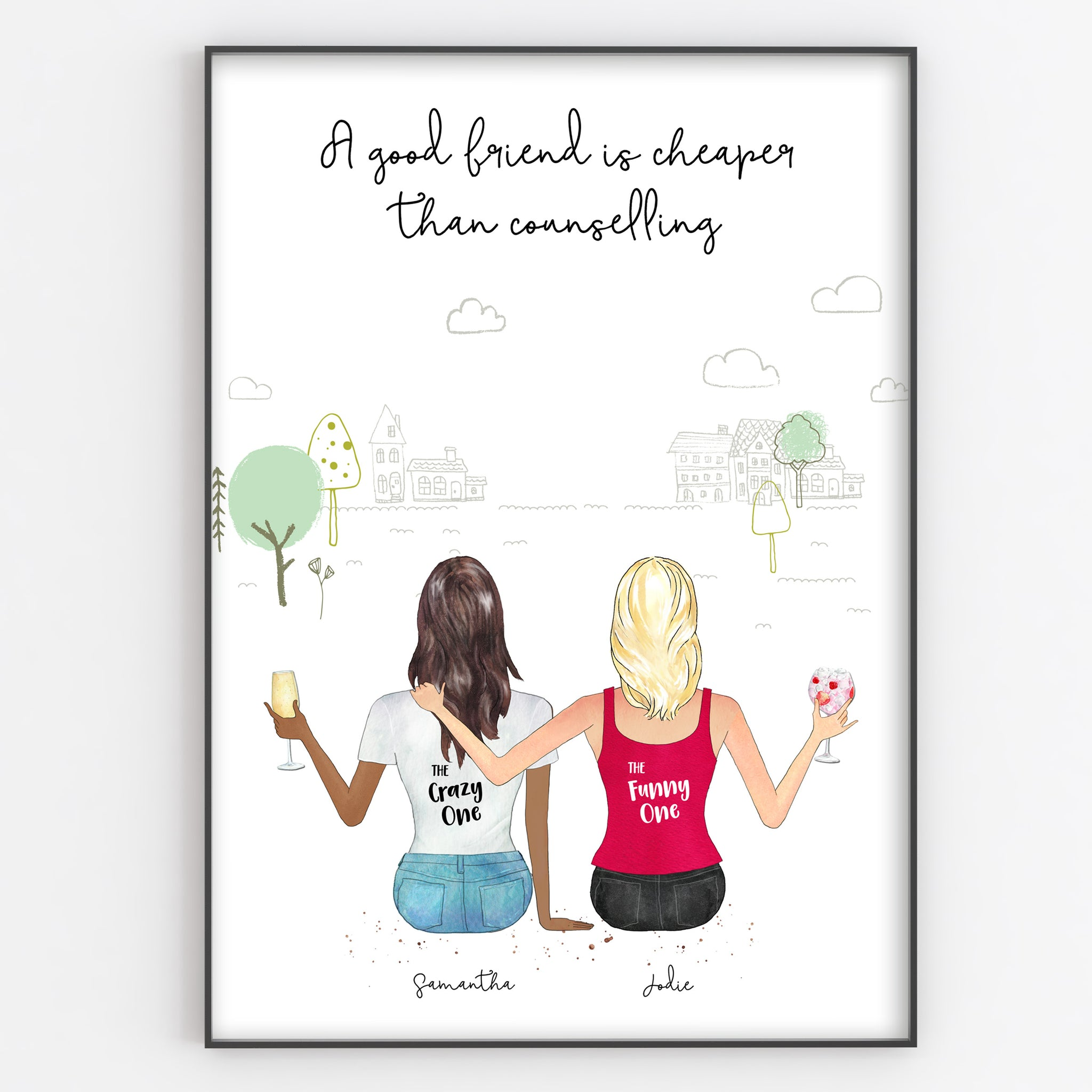 Best Friend, Sister, Cousin, Colleague Personalised Print, Fun Portrait Style