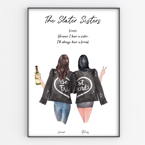 Best Friend, Sister, Cousin, Colleague Personalised Print, Leather Jacket Style