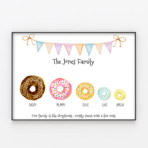 Doughnut Family Print, Fun Personalised Wall Art Gift for Home