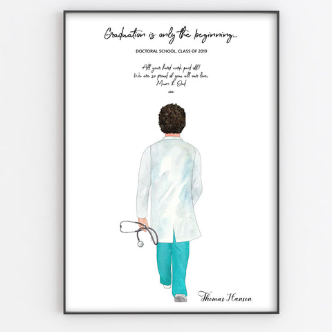 Best Doctor / Nurse / Paramedic Gift, Newly Qualified, Retirement Personalised Print, Fun Portrait Style