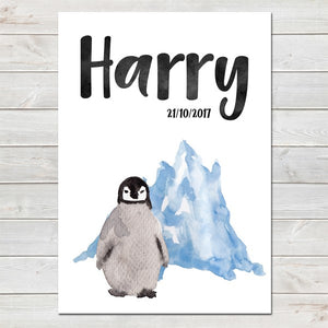 Baby Penguin Iceberg Personalised Print/Kids Room Nursery Decor A4