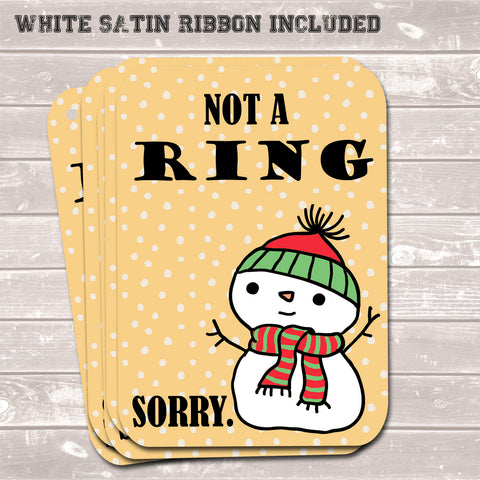 Christmas Gift Tags, Not a Ring Sorry, Present Accessories (Pack of 8)