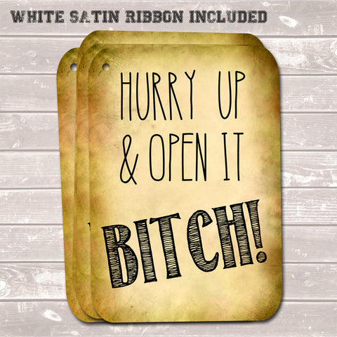 Rude Christmas Gift Tags, Hurry Up Bitch, Present Accessories (Pack of 8)