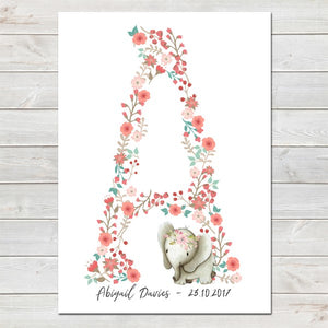 Elephant Coral Floral Initial Personalised Print/Kids Room Nursery Decor A4