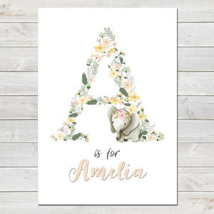 Elephant Pastel Floral Initial Personalised Print/Kids Room Nursery Decor