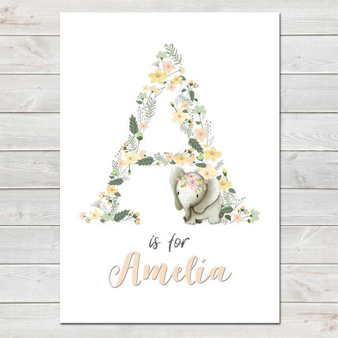 Elephant Pastel Floral Initial Personalised Print/Kids Room Nursery Decor A4
