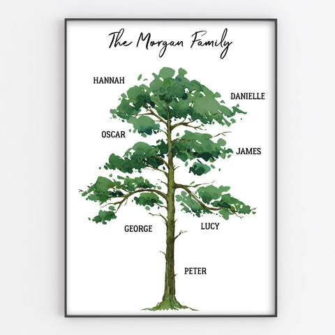 Family Tree Print, Personalised Oak Tree Wall Art Gift A3 or A4