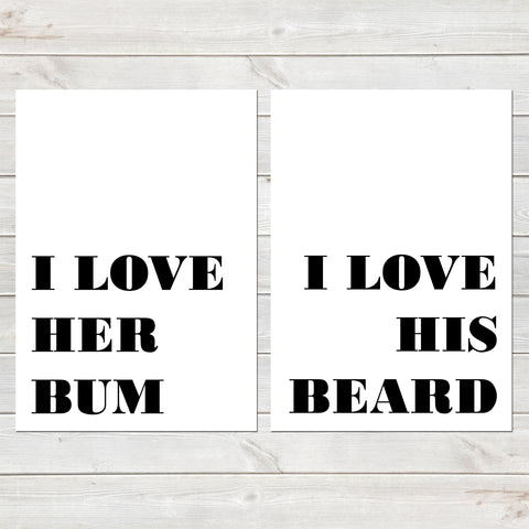 Set of Two I Love His and Hers Personalised Prints, Bedroom Decor