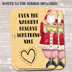 Christmas Gift Tags, Even The Naughty, Funny Present Accessories (Pack of 8)