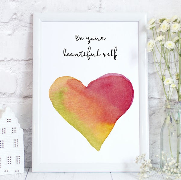 Be Your Beautiful Self, Inspirational, LGBT Pride Print