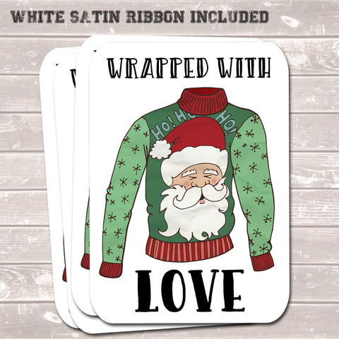 Christmas Gift Tags, Wrapped With Love, Present Accessories (Pack of 8)