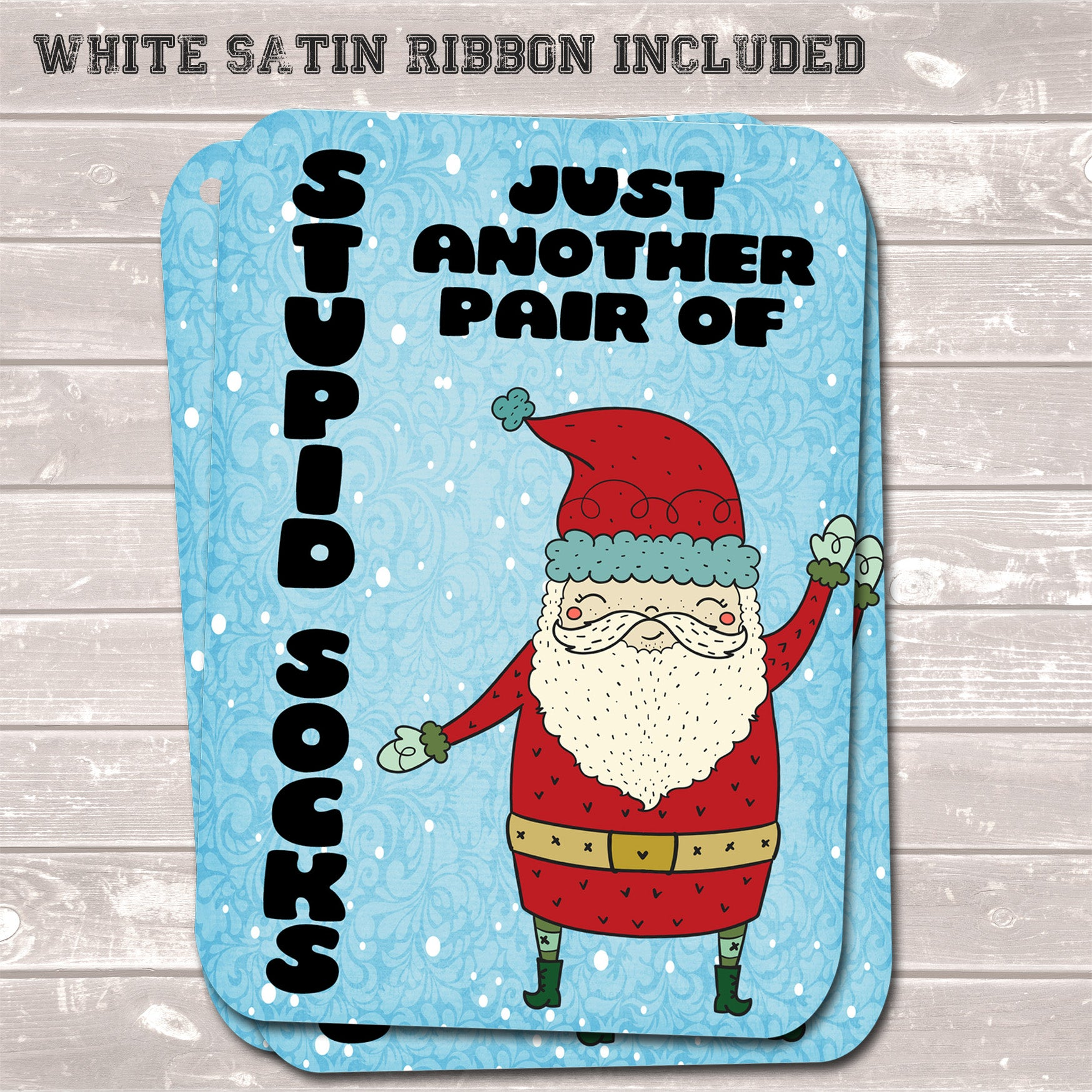 Christmas Gift Tags, Stupid Socks, Funny Present Accessories (Pack of 8)