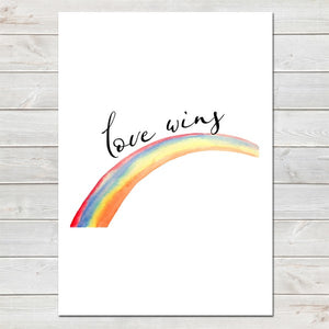 Love Wins, Inspirational Rainbow LGBT Pride Print A4