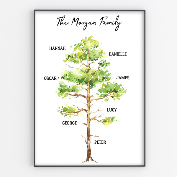 Family Tree Print, Personalised Oak Tree Wall Art Gift