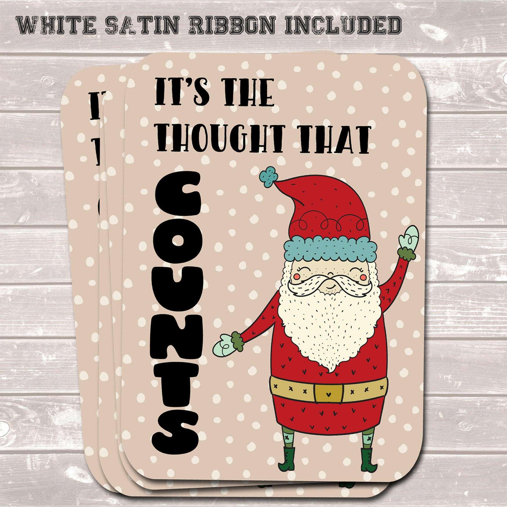Christmas Gift Tags, Thought That Counts, Funny Present Accessories (Pack of 8)